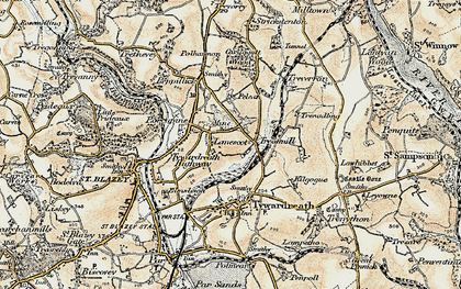 Old map of Lanescot in 1900