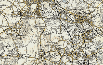 Old map of Lanesfield in 1902