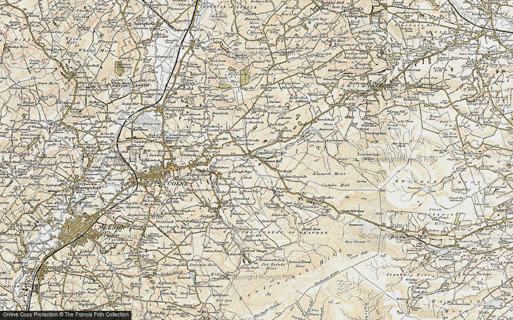 Old Map of Historic Map covering Lane Head in 1903-1904