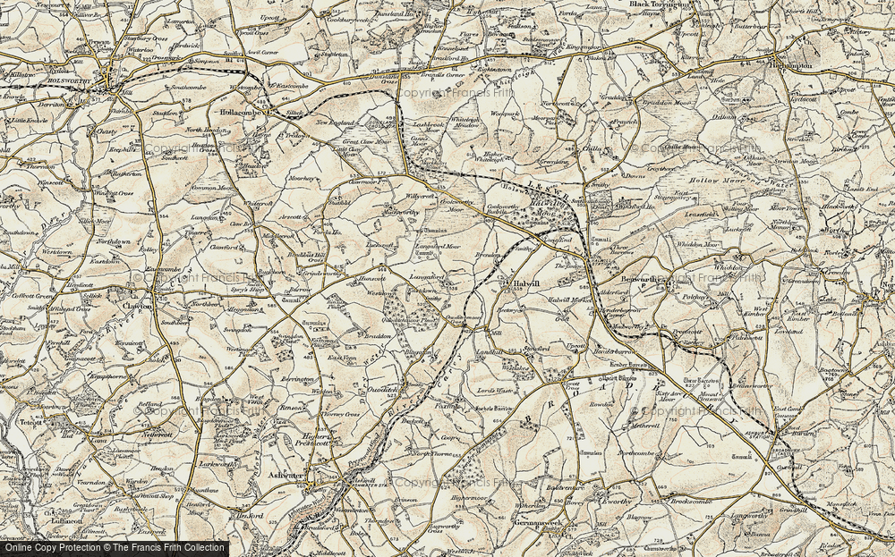 Old Map of Historic Map covering Langaford Moor in 1900