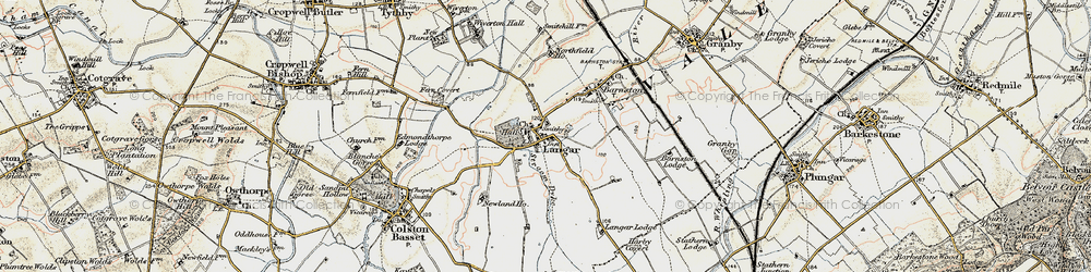 Old map of Langar in 1902-1903