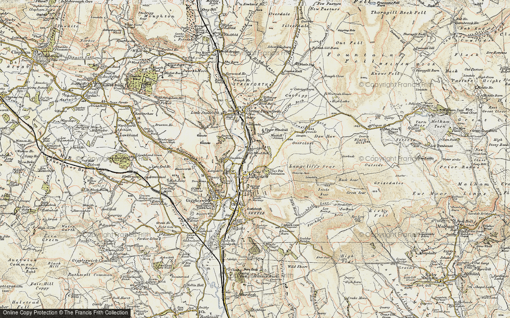 Old Map of Historic Map covering Attermire Cave in 1903-1904