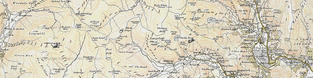 Old map of Langdale Pikes in 1903-1904