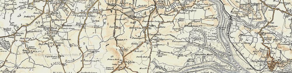 Old map of Langenhoe Hall in 1898-1899