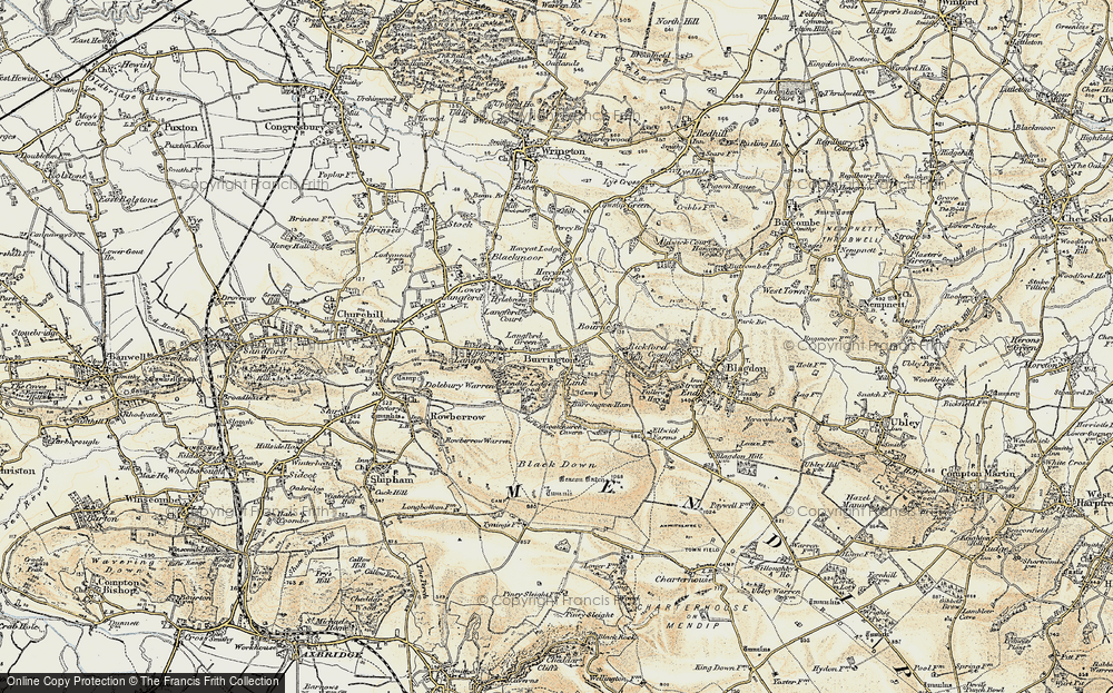 Old Map of Historic Map covering Aveline's Hole in 1899-1900