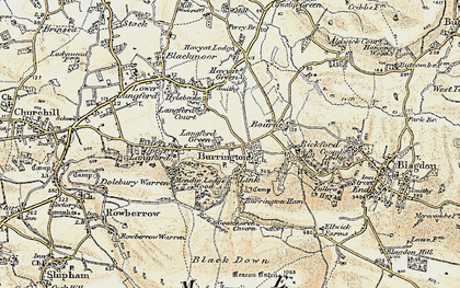 Old map of Langford Green in 1899-1900