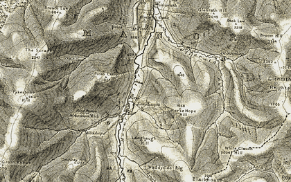 Old map of White Cleuch Hill in 1904