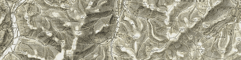 Old map of Langhaugh Hill in 1904