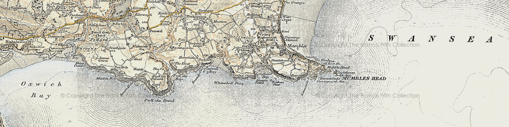 Old map of Langland in 1900-1901