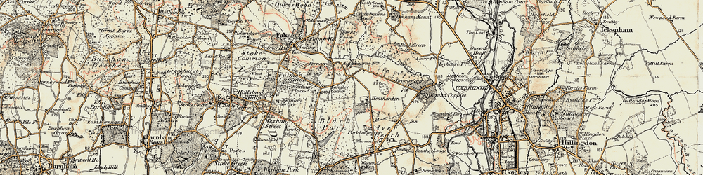 Old map of Alder Bourne in 1897-1909