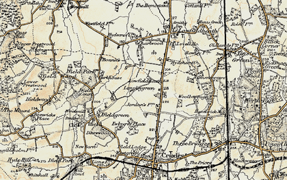 Old map of Langley Green in 1898-1909