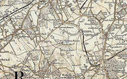 Map Of Epsom Epsom Downs photos, maps, books, memories   Francis Frith Map Of Epsom