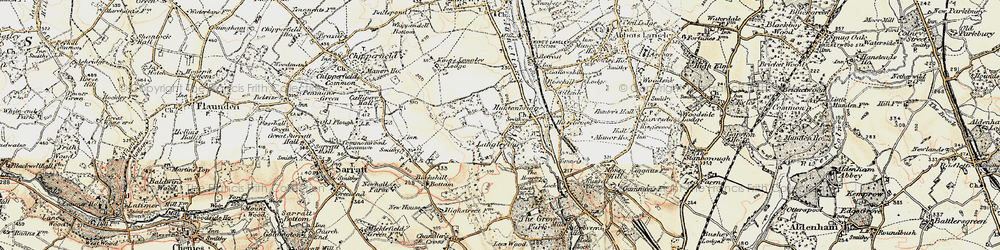 Old map of Langleybury in 1897-1898