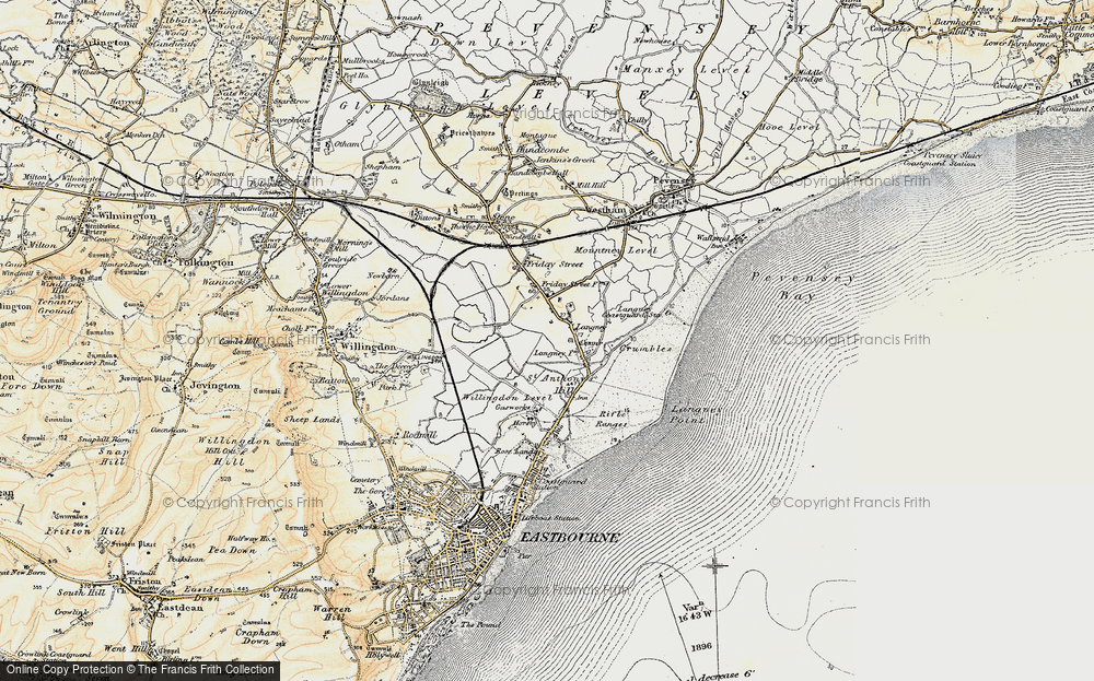 Old Map of Historic Map covering Langney Point in 1898