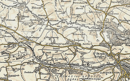 Old map of Langore in 1900
