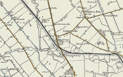 Old map of Langrick Grange in 1902-1903