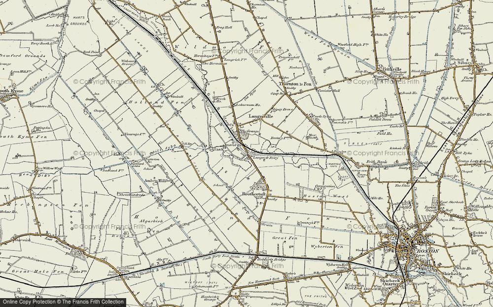 Old Map of Langrick Bridge, 1902-1903 in 1902-1903