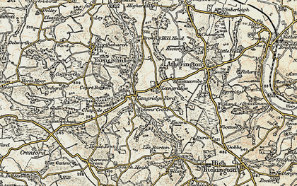 Old map of Langridgeford in 1899-1900