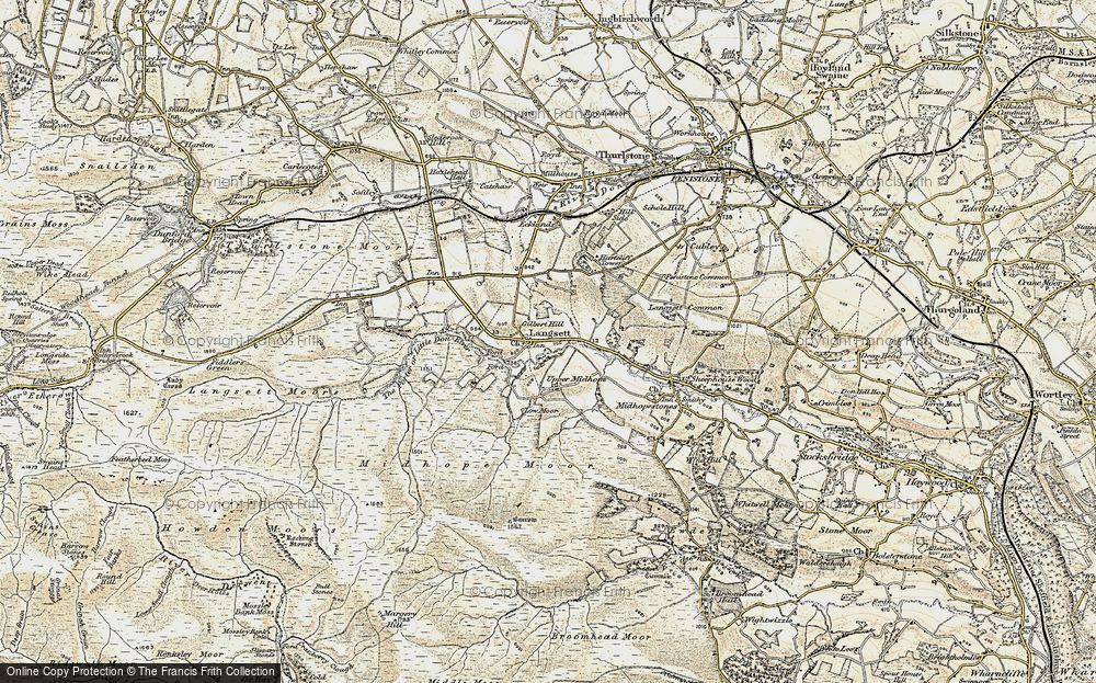 Old Map of Historic Map covering Langsett Resr in 1903