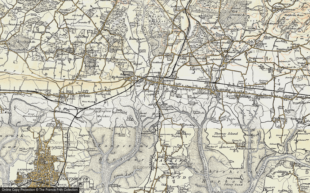 Old Map of Historic Map covering Langstone Bridge in 1897-1899