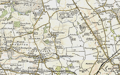 Old map of Ainderby Myres in 1904
