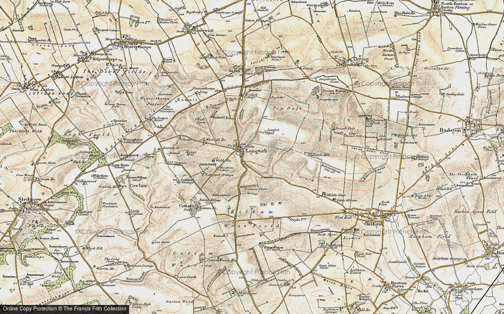 Old Map of Historic Map covering Langtoft Grange in 1903-1904