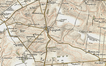 Old map of Langtoft in 1903-1904