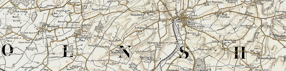 Old map of Langton in 1902-1903