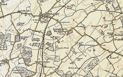 Old map of Langton by Wragby in 1902-1903