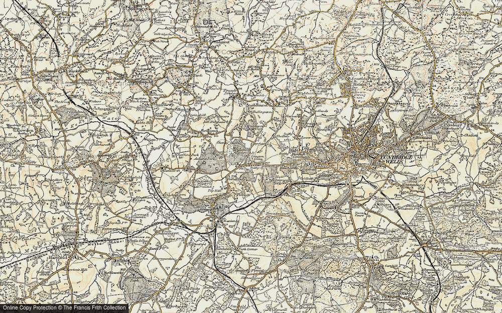 Old Map of Historic Map covering Ashurst Place in 1897-1898