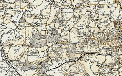 Old map of Ashurst Place in 1897-1898