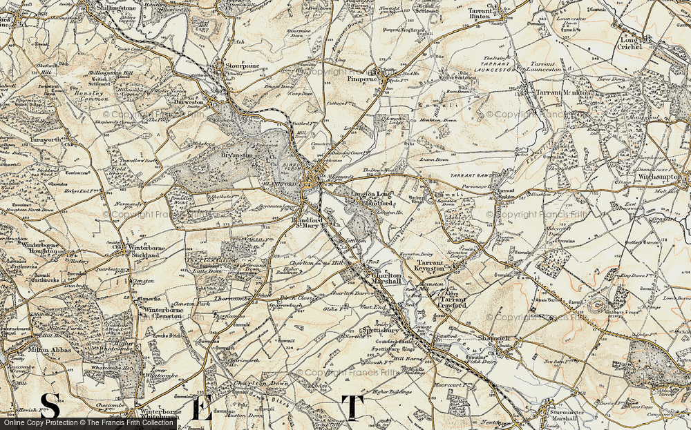 Old Map of Langton Long, 1897-1909 in 1897-1909