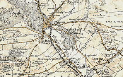 Old map of Langton Long in 1897-1909