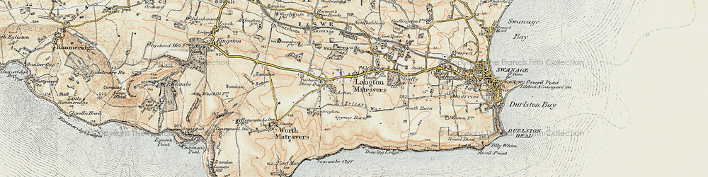Old map of Langton Matravers in 1899-1909
