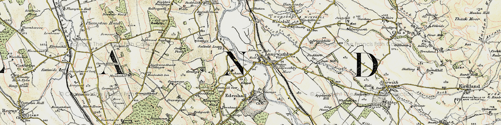 Old map of Langwathby in 1901-1904