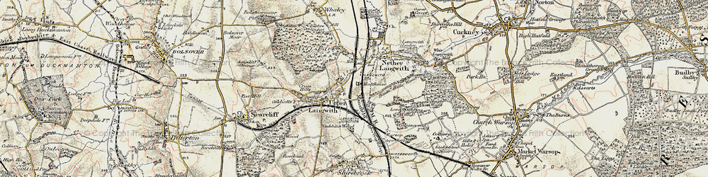 Old map of Langwith in 1902-1903