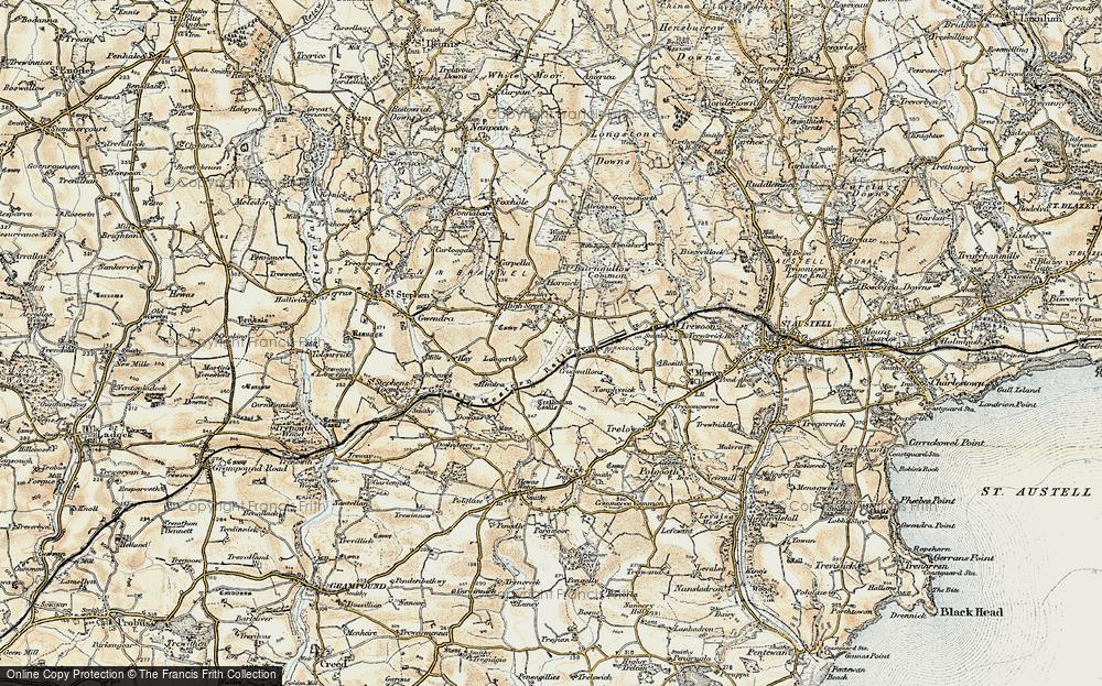 Old Map of Lanjeth, 1900 in 1900