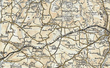 Old map of Lanjeth in 1900