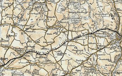 Old map of Lanjeth in 1900