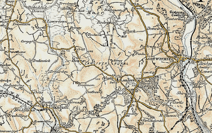 Old map of Lanlivery in 1900