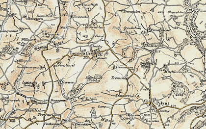 Old map of Lanreath in 1900