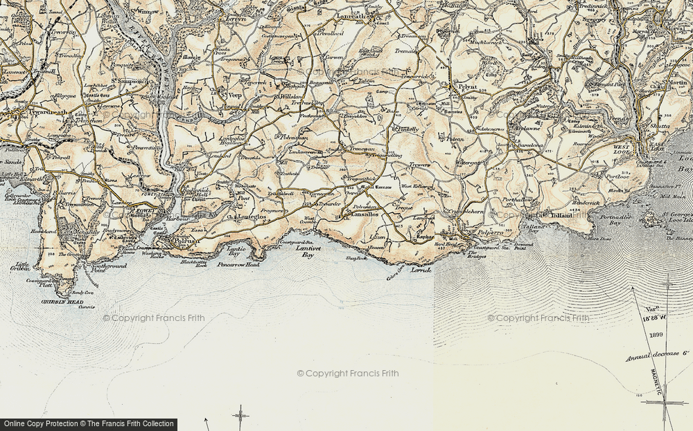 Old Map of Historic Map covering Lantivet Bay in 1900