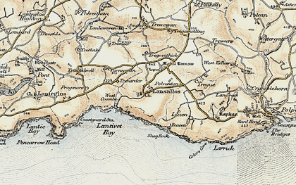 Old map of Lansallos in 1900