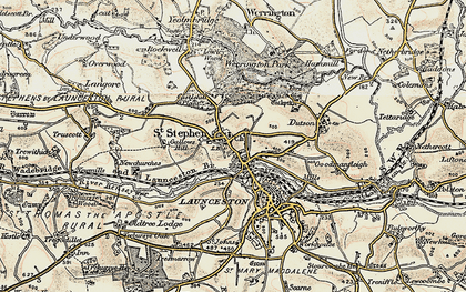 Old map of Lanstephan in 1899-1900