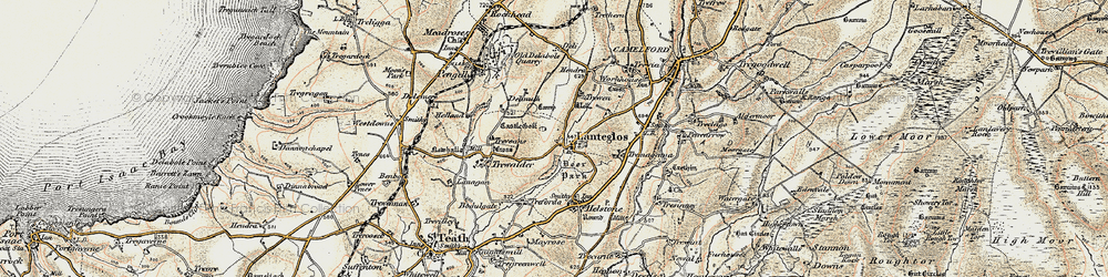 Old map of Lanteglos in 1900