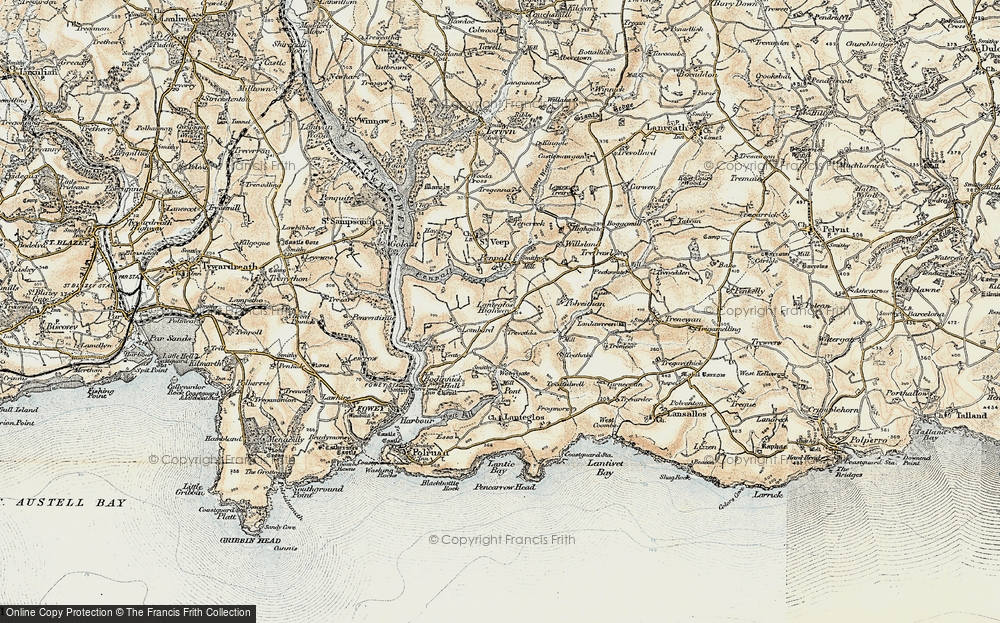Old Map of Lanteglos Highway, 1900 in 1900