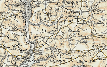 Old map of Lanteglos Highway in 1900