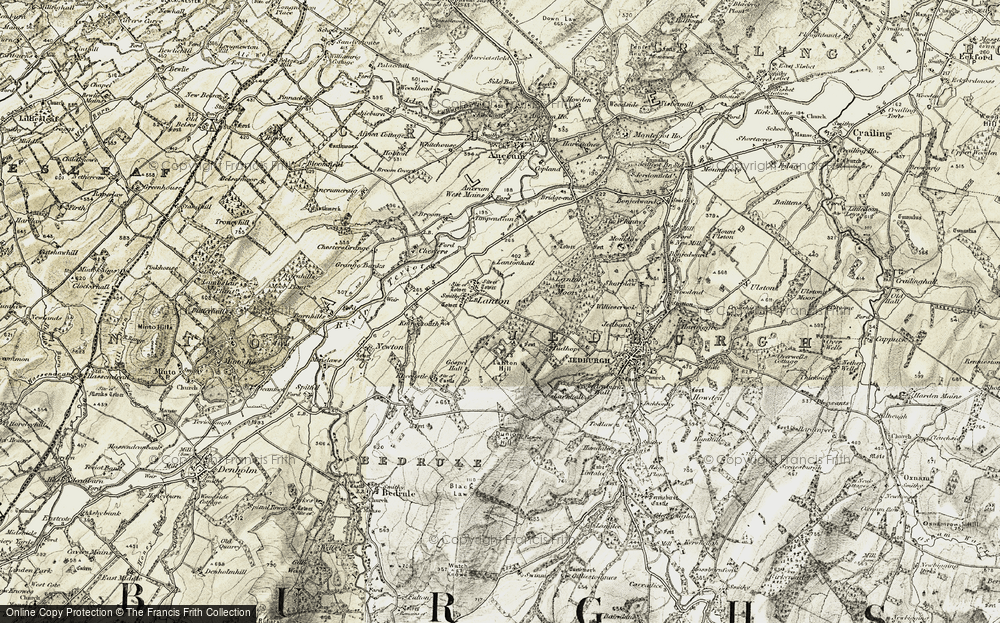 Old Map of Historic Map covering Lanton Hill in 1901-1904