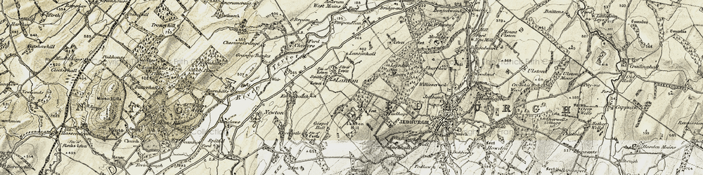Old map of Lanton in 1901-1904