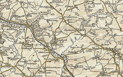 Old map of Lapford in 1899-1900